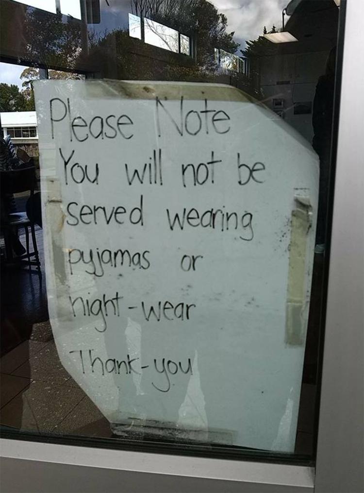 No pyjamas